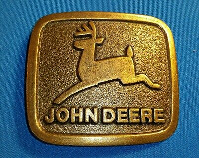 Vintage John Deere Solid Brass Belt Buckle