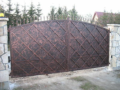 Wrought iron handmade security driveway gate made to measure by Celeb Iron Gates