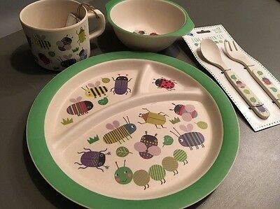 Busy Bugs Eco Baby Child's Feeding Dinner Set Plate Bowl Cutlery