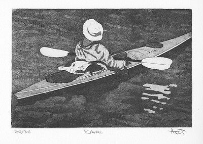 Hand pulled kayak print, etching with aquatint, home decor wall sports art
