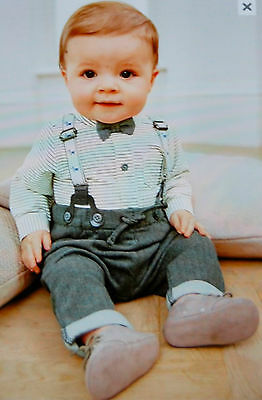 ♡ Next ♡ BNWT ☆ Baby Boy Outfit Bow Tie Braces 3-6 Months Wedding Christening