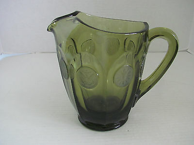 Vintage Fostoria Olive Green Frosted Coin Dot Pitcher