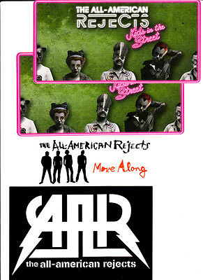 ALL-AMERICAN REJECTS Kids In The Street/Move Along 4 PROMO STICKERS for cd MINT