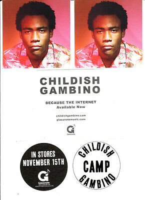 CHILDISH GAMBINO Because The Internet/Camp 3 PROMO STICKERS for cd Donald Glover