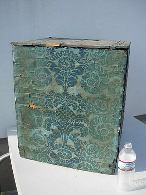 Large Antique Wallpaper Covered Chinese? Wood Box with 1840's Newspaper
