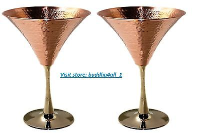 8fa7b0cbcfb0 Solid Copper Martini Glass Beautifully Hammered Martini Glass holds 10  Ounce.(2)