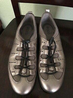 ECCO Pewter Leather Comfort Shoes Women's 39 US 8-8.5 Slip Ons