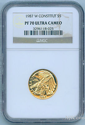 1987 W Constitution Bicentennial Half Eagle Gold Coin $5 NGC PF 70 PF70