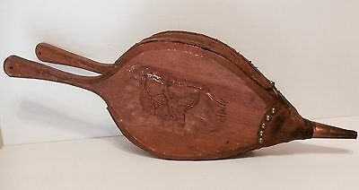 Old Primitive Wooden Leather Fireplace Bellows Carved Ducks Copper Tip