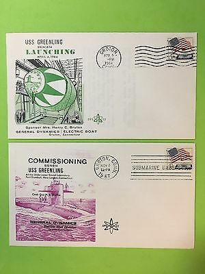 2 Us Naval Covers Uss Greenling -Commissioned 67' & Launched 64'