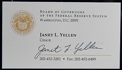Federal Reserve Janet Yellen Signed Business Card Psa Dna Jsa Guarantee Auto