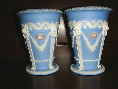 Pair of  Antique Wedgwood Tricolor Monopod Vases