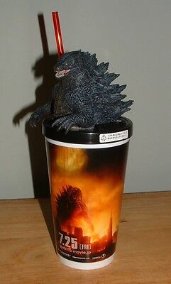 2014 GODZILLA FIGURE Lid & Drink Cup JAPAN MOVIE THEATER EXCLUSIVE