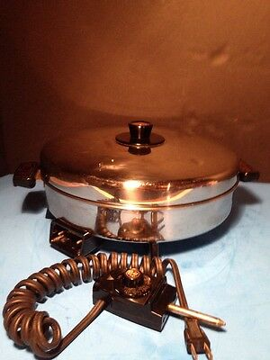 "REVERE WARE 12"" Electric Skillet #885 Stainless Domed Lid Clean Copper Core VGC"