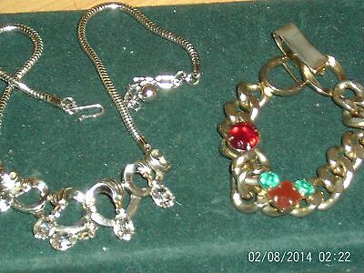 Retro Lot Of 2 Rhinestone Necklace And Bracelet Vintage Jewelry