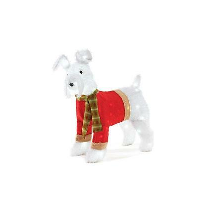 """29"""" NEW LED White Lighted Fluffy Fuzz Dog Sweater Sculpture In/Outdoor Christmas"""