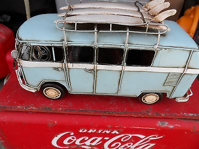 Handcrafted Metal Tin Antique Style Vw Volkswagen Bus W/ Surfboards On Top