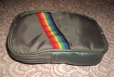 Vtg Rainbow Zipper Belt Wrist Pouch, Bag, Purse Cigarette Camera Case Snap On