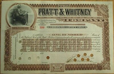FRANCIS ASHBURY PRATT-Signed 'Pratt & Whitney Co.' 1890 Stock Certificate