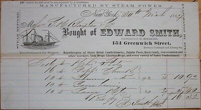 Candy/Confectionery Steam-Made 1864 Letterhead w/Ship - New York, NY