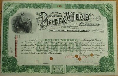 FRANCIS ASHBURY PRATT & AMOS WHITNEY-Signed 1890 P&W Stock Certificate- Aviation