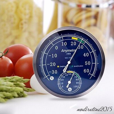 Stainless Steel Thermometer Hygrometer Household Temperature Meter  Psychrometer