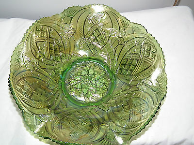 Antique Millersburg Green Whirling Leaves Carnival Glass Bowl 9.5 Inch