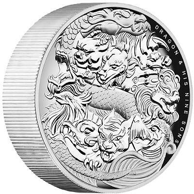 NEW Perth Mint Dragon and His Nine Sons 5oz High Relief Silver Proof Coin
