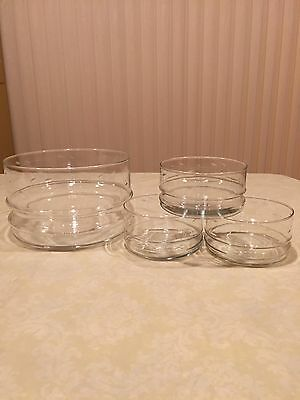 Vintage Clear Glass Large Salad Bowl and 4 Matching Serving Bowls