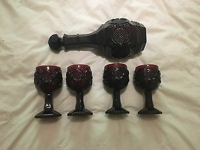 Vintage Ruby Red Glasses and Decanter 1876 Avon Cape Cod Collection