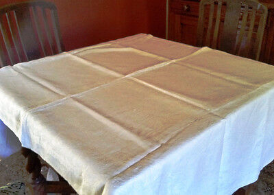 Vintage Retro white Cotton WHITE  Damask Tablecloth large 205cm x 160cm