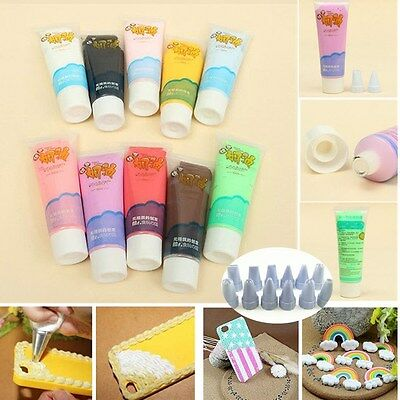 50g Fake Whipped Cream Clay Decoden Kawaii DIY Craft Glue Phone Case +2 Tips