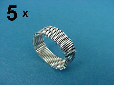5 (FIVE) rings in shiny silver colored mesh stainless steel 800