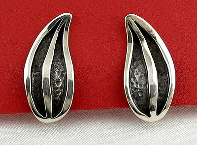 Rare Espinosa Mexico Sterling Silver 925 Leaf Modernist Vtg Earrings Screw Back
