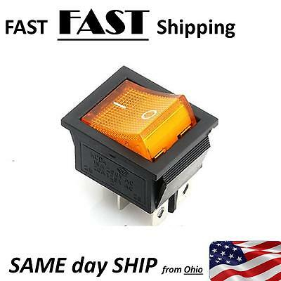 4 Pin ON/OFF 2 Position Rocker Switch DPST 110V 115V 120V  AMBER 20A  AC switch