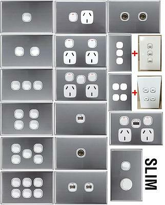 Brushed Silver SUPER SLIM 4mm Light Switch Wall Plate Cover GPO Power Point