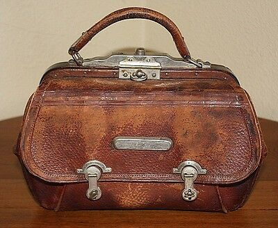 Leather 1800 Valise Gladstone Doctor Bag Train Case Antique Stagecoach Western