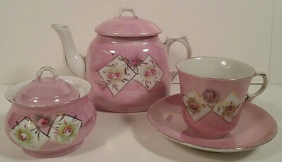 Pink Luster w/ Roses Hand Painted Child's Teaset 6 Pcs Aesthetic Movement