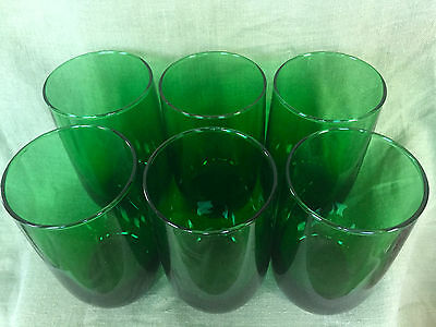 ANCHOR HOCKING FOREST Green CHARM 6 ounce JUICE Glasses set of 6!