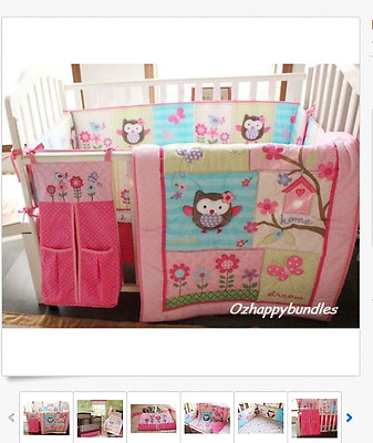 New Baby Girls 7 Pieces Cotton Nursery Bedding Crib Cot Sets-- Owl Tree Design