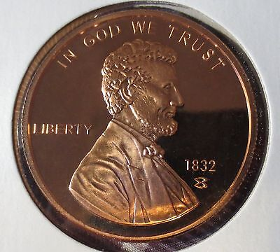 1oz Pure Copper Lincoln Coin in excellent condition Proof Like Finish