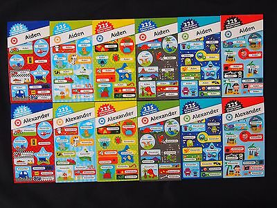 225 Personalised Name Labels For Aiden & Alexander - Back To School Fun Stickers