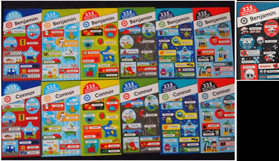 225 Personalised Name Labels For Benjamin & Connor - Back To School Fun Stickers