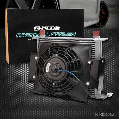 "UK 30 Row 10AN Universal Engine Transmission Oil Cooler+7"" Fixed Cooling Fan Kit"