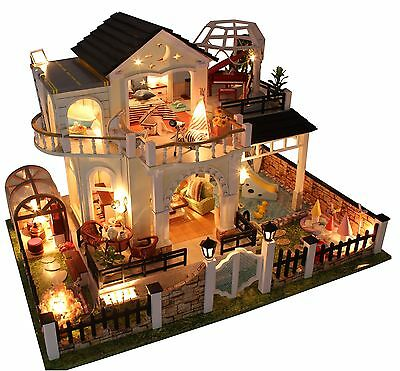 Dollhouse Miniature DIY Kit Large Villa With Furniture Handycraft Birthday Gift