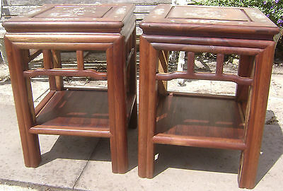 Attractive Pair Chinese Rosewood Urn Vase Stands Table Stand