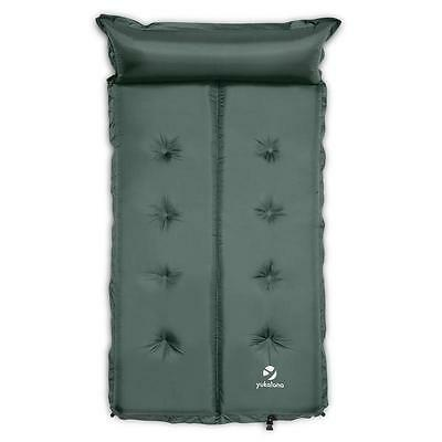 Yukatana Camping Sleeping Mat Double Airbed 7Cm Thick Pillow Green