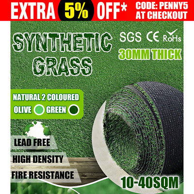 10-40 SQM Roll Artificial Grass Synthetic Turf Plastic Plant Fake Lawn 30MM AU