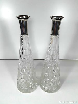 Couple Decanters. Cut Glass. Sterling Silver Neck 916. Spain. Circa 1950