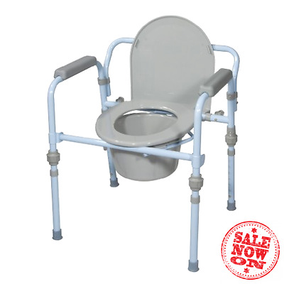 Folding Toilet Commode Bucket Potty Bedside Chair Seat Medical ...